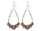 Chan Luu Sterling Silver Teardrop Freshwater Pearl Earrings with Velvet Piping
