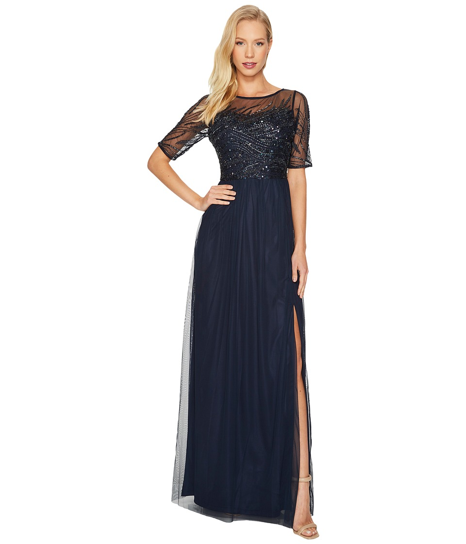 Adrianna Papell - 3/4 Sleeve Beaded Bodice with Mesh Long Skirt