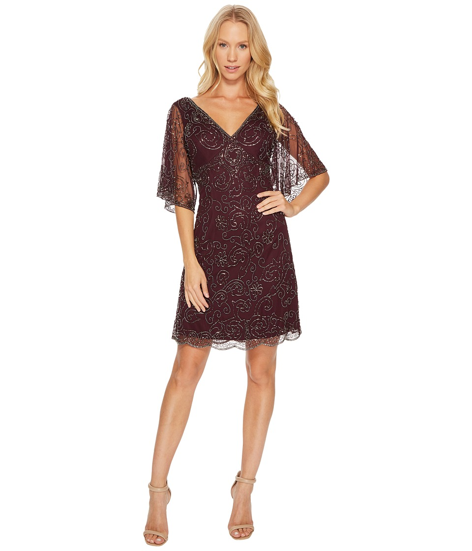 Adrianna Papell - Fully Beaded Cocktail Dress with Bat Wing Sleeves