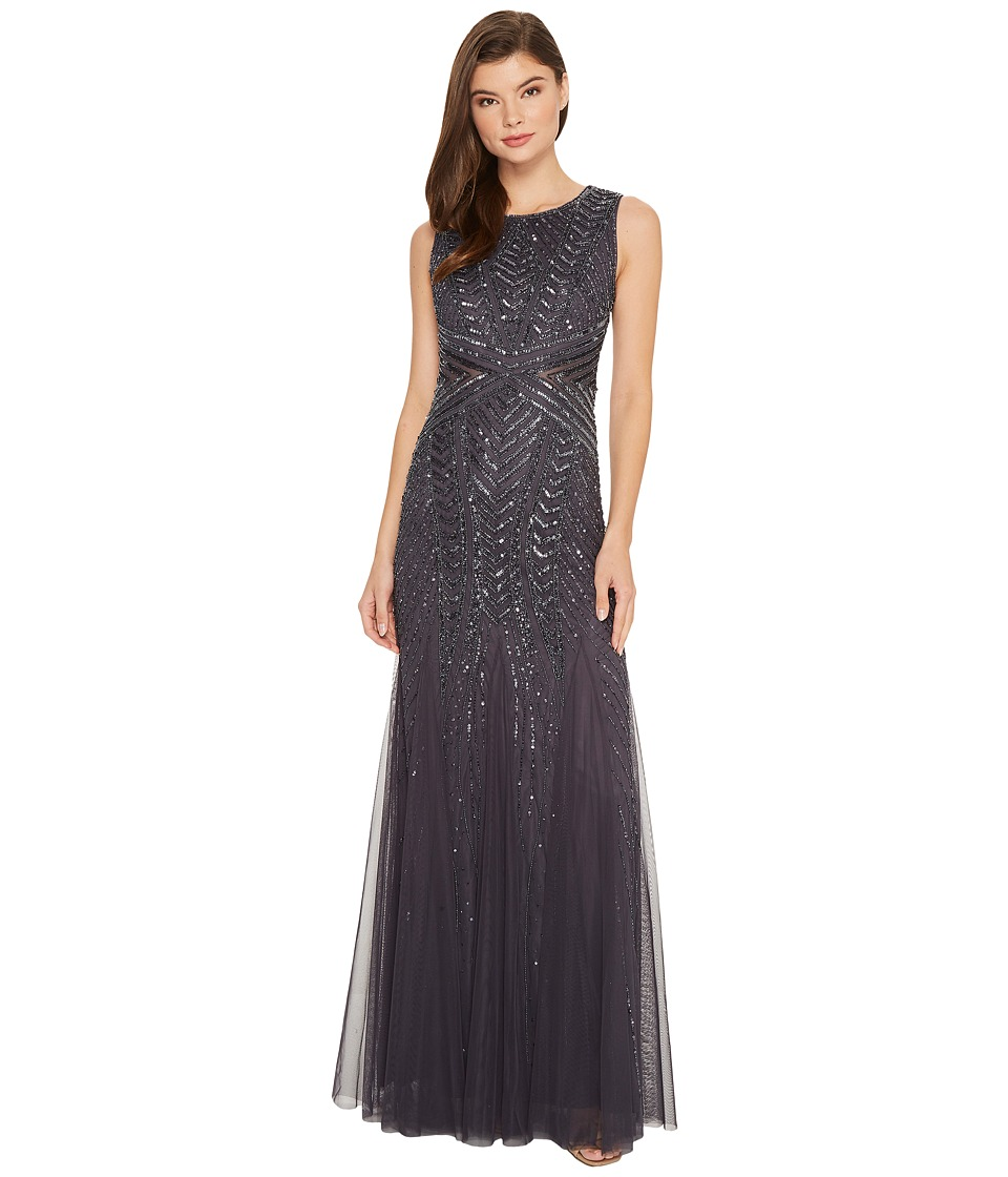 Adrianna Papell - Sleeveless Fully Beaded Gown with Waist Detail