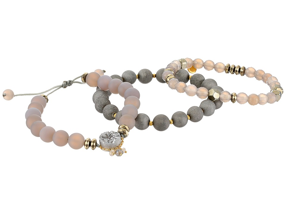 Chan Luu - 18 Karat Gold Plated Agate and Semi Precious Stone Mix Adjustable Bracelets
