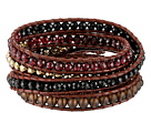 Chan Luu Sterling Silver 5 Wrap Bracelet on Leather with Semi Precious Stones and Crystals