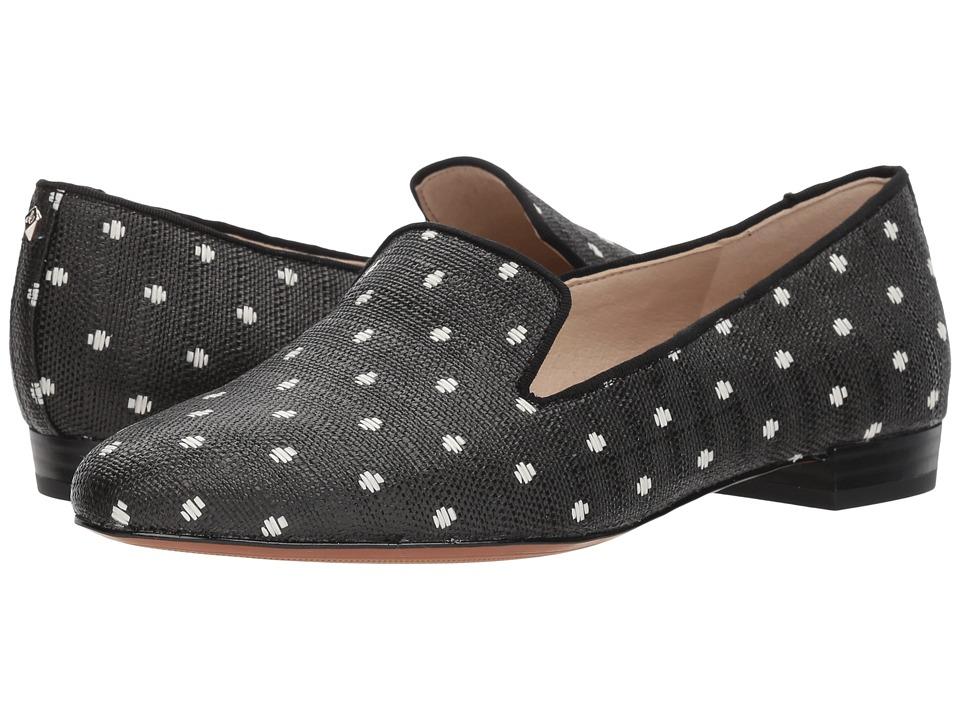 Retro Vintage Flats and Low Heel Shoes Sam Edelman - Jordy BlackWhite Polka Dot Raffia Womens Shoes $130.00 AT vintagedancer.com