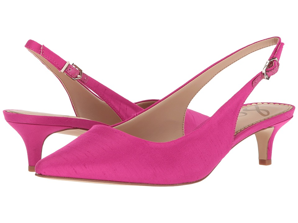 Pin Up Shoes- Heels & Flats Sam Edelman - Ludlow Pink Magenta Silk Dupioni Womens Shoes $110.00 AT vintagedancer.com