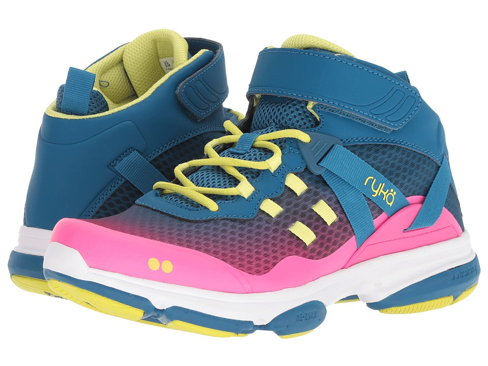 Ryka Devotion XT Mid (Seaport/Hyper Pink/Bright Chartreuse) Women's Shoes