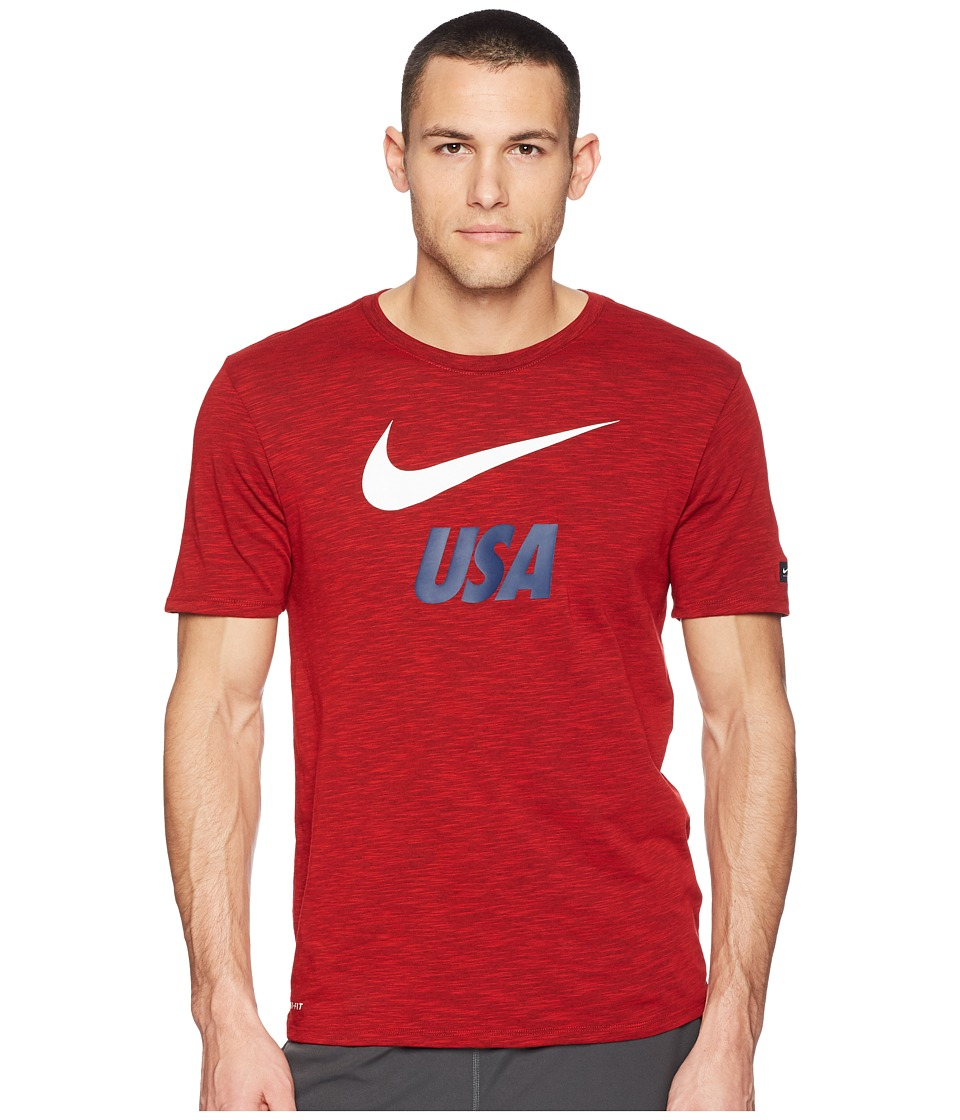 Nike USA Dry Tee Slub Preseason (University Red) Men