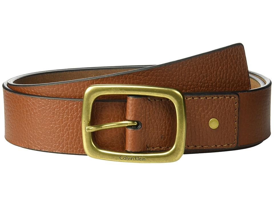 Calvin Klein 38mm Pebble Leather Strap w/ Center Bar Buckle Belt (Sienna) Women