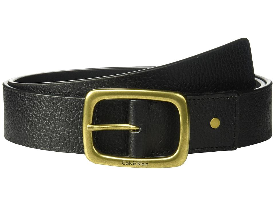 Calvin Klein 38mm Pebble Leather Strap w/ Center Bar Buckle Belt (Black) Women