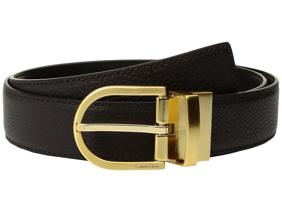 Calvin Klein 32mm Pebble To Smooth Leather Reversible Strap Belt (Yukon/Black) Women
