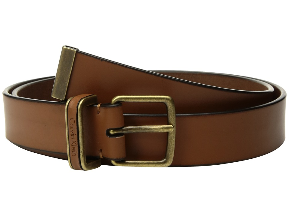 Calvin Klein 30mm Smooth Strap w/ Metal Tip Belt (Whiskey) Women