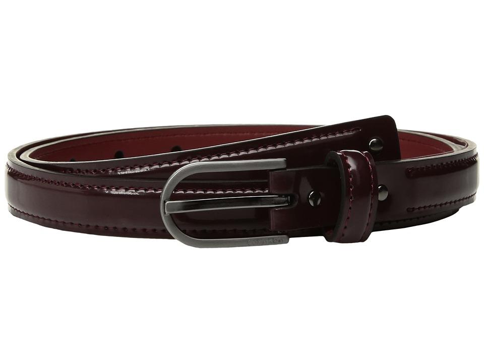 Calvin Klein 20mm Strap w/ Stud Detail Belt (Plum) Women