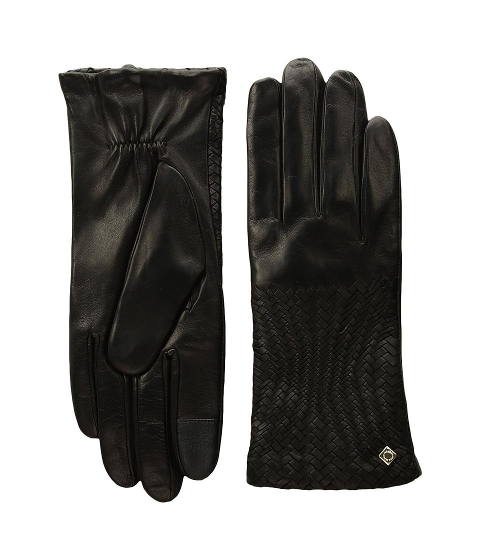 Cole Haan Genevieve Woven Gloves (Black) Dress Gloves