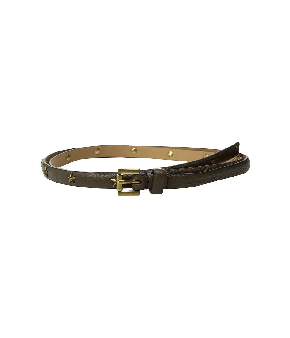 MICHAEL Michael Kors 13mm Skinny Pebble Star Belt (Olive) Women