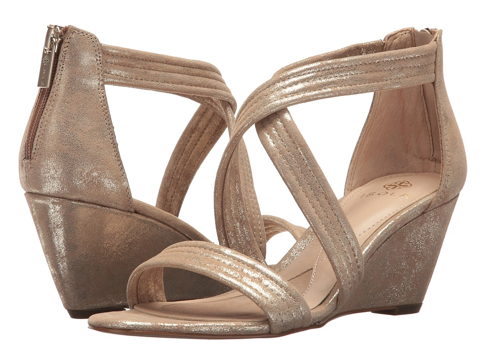 Isola - Fia (Platino Distressed Foil Suede) Womens Dress Sandals