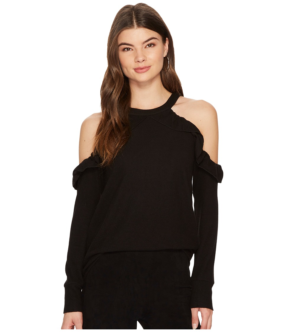1.STATE - Cold Shoulder Ruffle Edge Top (Rich Black) Womens Clothing