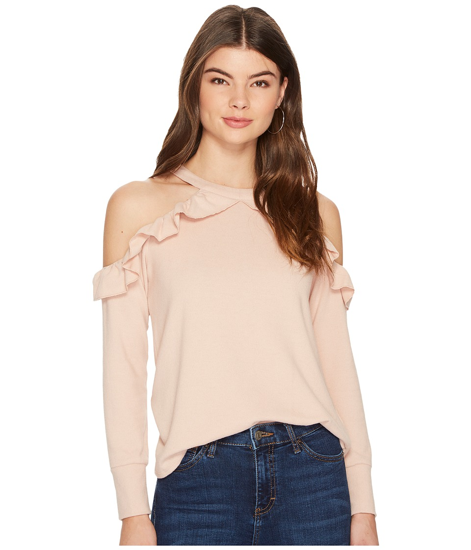 1.STATE - Cold Shoulder Ruffle Edge Top