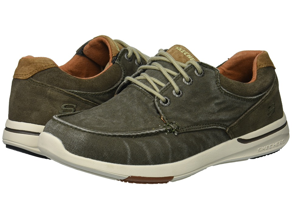 SKECHERS - Relaxed Fit: Elent - Arven (Olive) Mens Lace Up Moc Toe Shoes