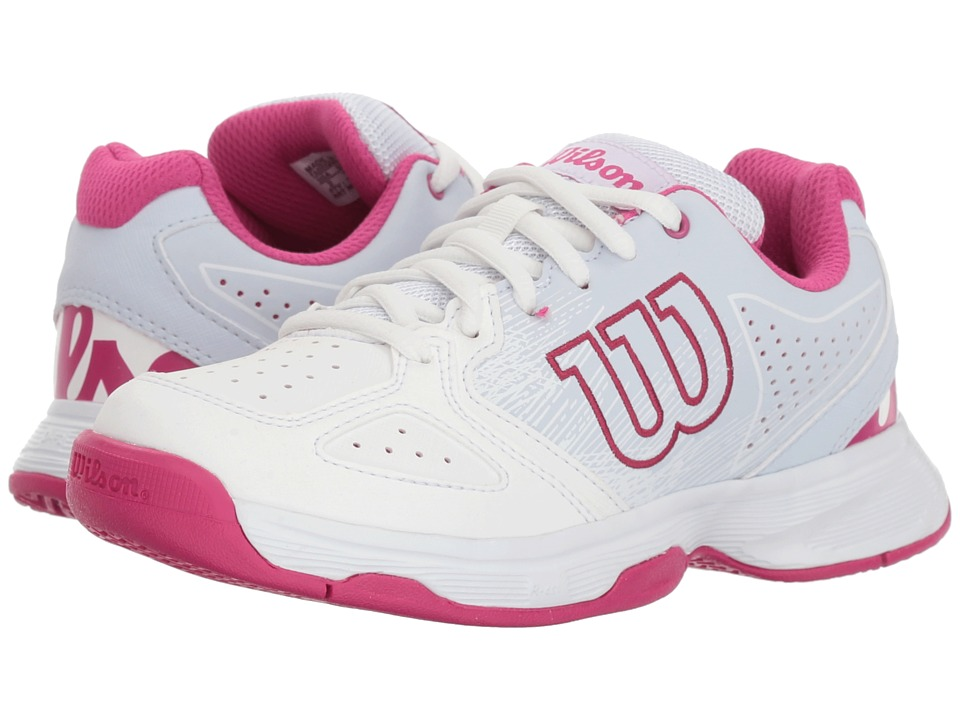 Wilson Kids - Stroke Jr Tennis (Little Kid/Big Kid) (White/Halogen Blue/Verry Berry) Girls Shoes
