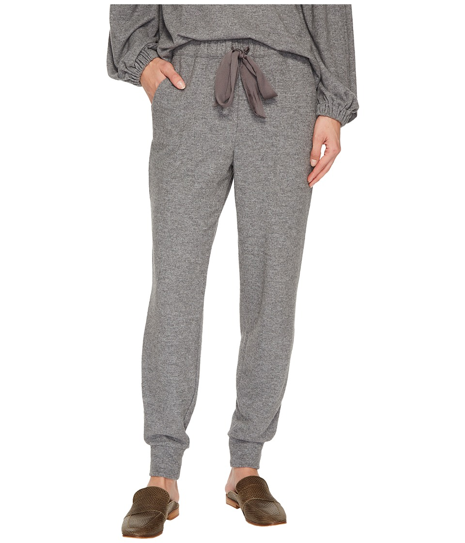 Image of 1.STATE - Brushed Jersey Joggers w/ Satin Tie (Pewter Heather) Women's Casual Pants