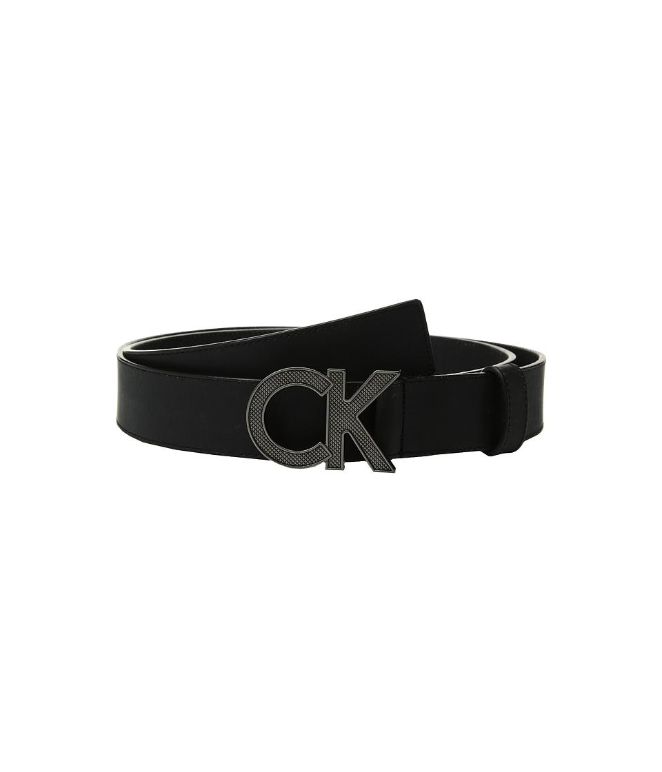 Calvin Klein 38mm Matte Leather CK Logo Buckle (Black) Men