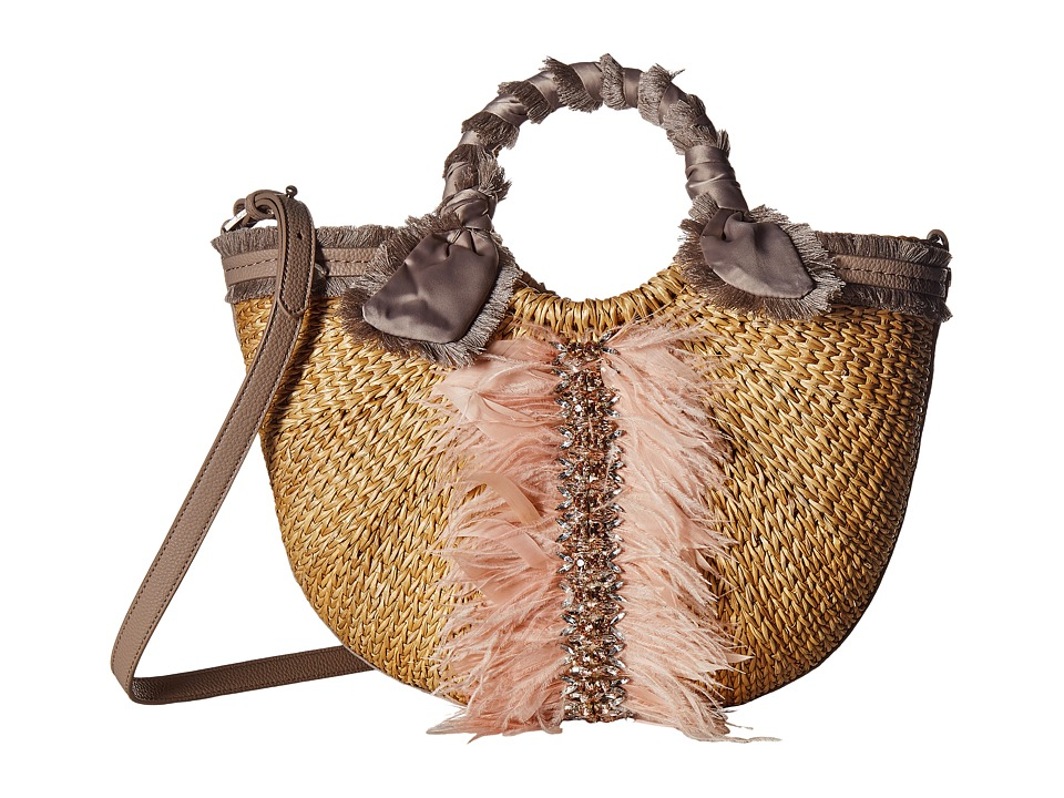 Sam Edelman - Idina Feather Straw Tote (Taupe) Tote Handbags