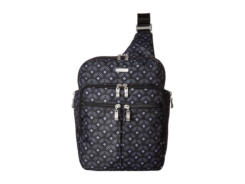 Baggallini - Messenger Bag with RFID Wristlet (Black Diamond Print) Bags