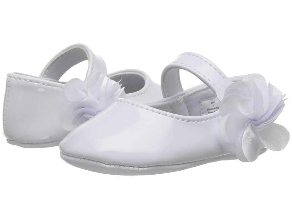 Baby Deer - Soft Sole Ballet with Side Flower (Infant) (White) Girls Shoes