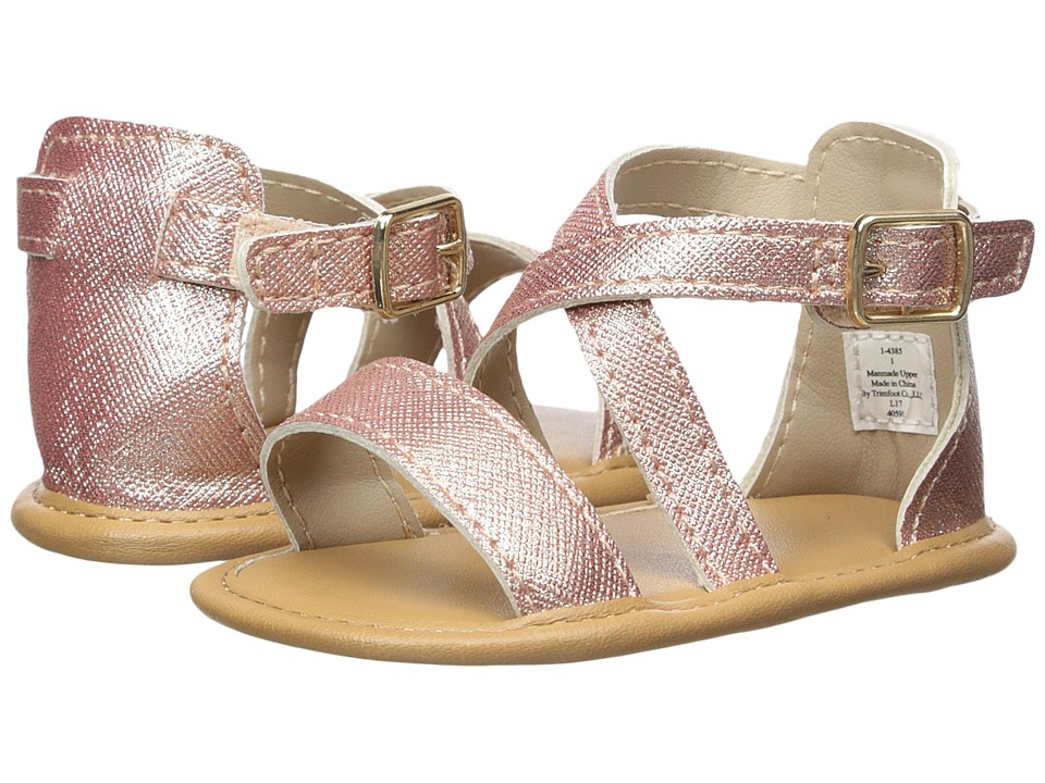 Baby Deer - Soft Sole Crisscross Sandal (Infant) (Rose Gold) Girls Shoes