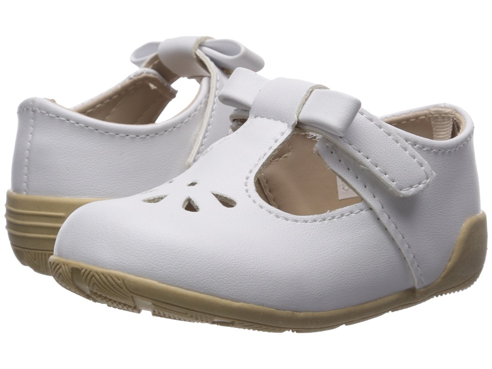 Baby Deer - First Steps T-Strap with Cut Outs (Infant/Toddler) (White) Girls Shoes