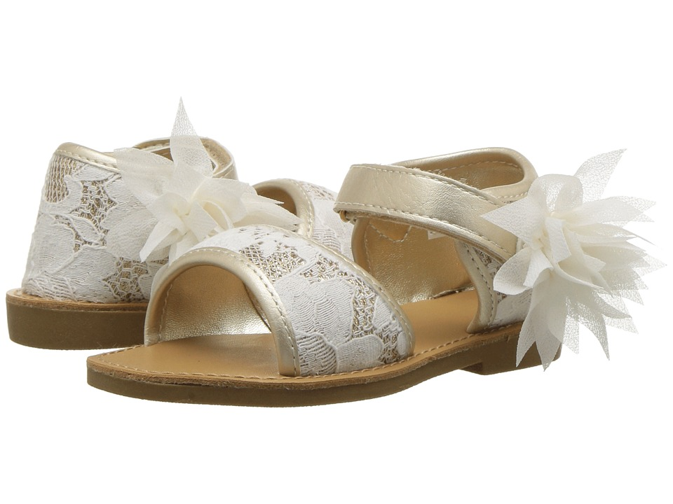 Baby Deer - First Steps Lace Sandal (Infant/Toddler) (Ivory/Gold) Girls Shoes