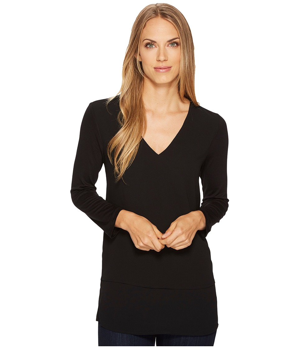 Michael Kors V-Neck Mixed Media (Black) Women's Clothing