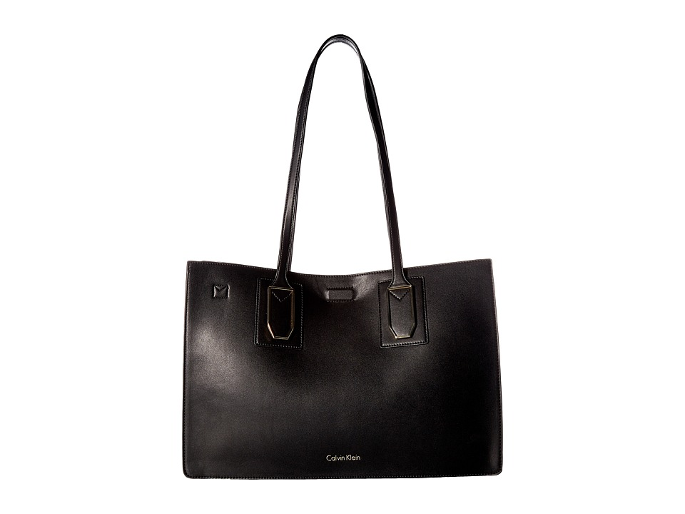 Calvin Klein Unlined Novelty East/West Boxed Tote (Black/...