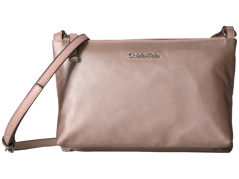 Calvin Klein Lucy Nylon Top Zip Crossbody (Rose Gold) Cross Body Handbags