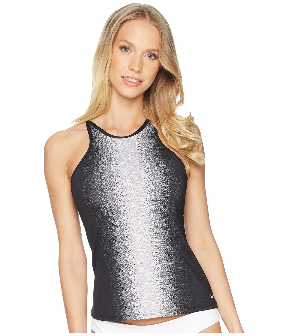 Nike - Fade Sting Adjustable High Neck Tankini (Black) Womens Swimwear