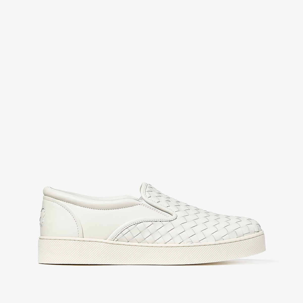 Bottega Veneta - Intrecciato Leather Skate Sneaker (White) Womens Lace up casual Shoes