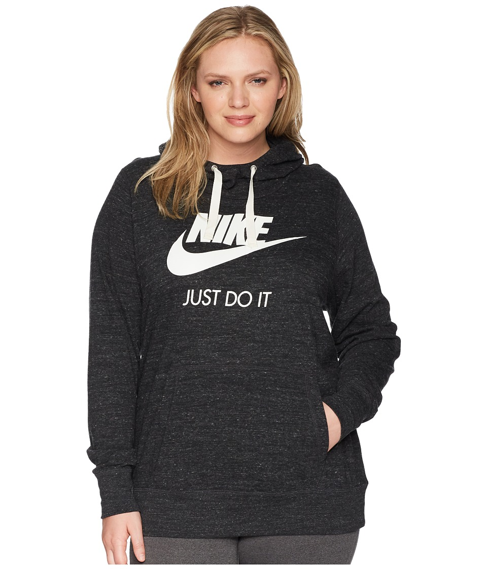Nike - NSW Gym Vintage Pullover Hoodie (Size 1X-3X) (Black/Sail) Womens Sweatshirt