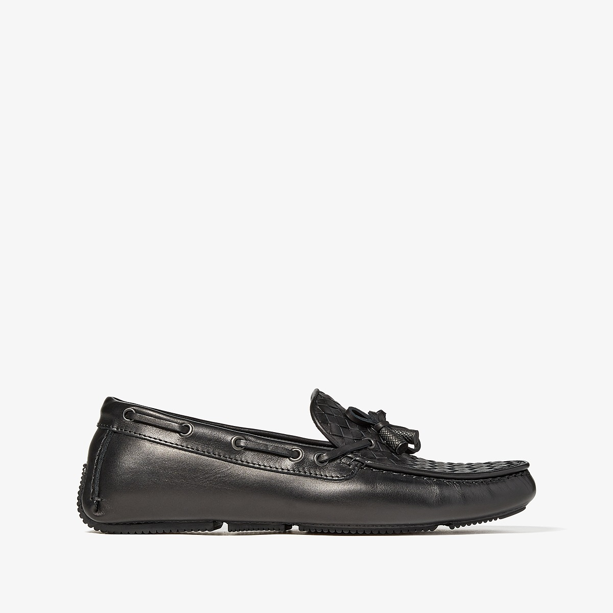 Bottega Veneta - Wave Bells Driver (Black) Mens Flat Shoes