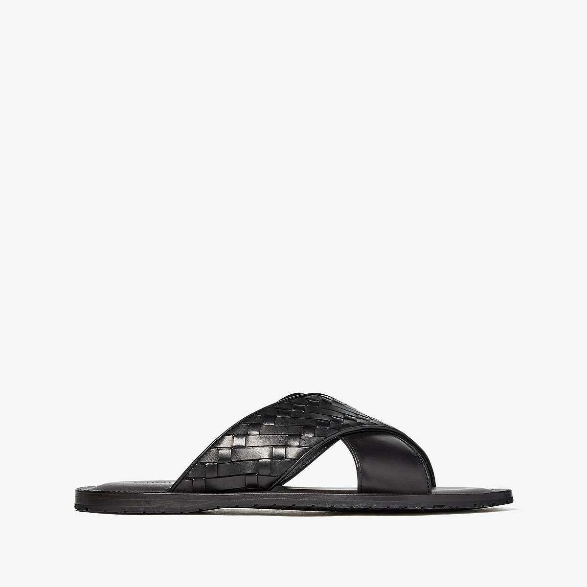 Bottega Veneta - Sapa Crisscross Sandal (Black) Men's Sandals