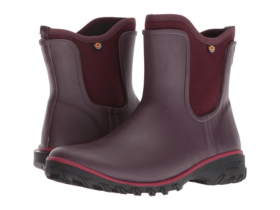 Bogs Sauvie Solid Slip-On Boot (Wine) Women's Rain Boots