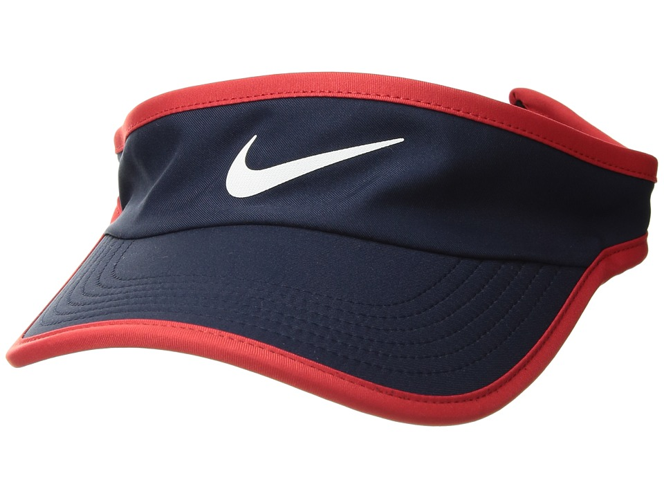 Nike - Featherlight Visor (Obsidian/University Red/White) Casual Visor