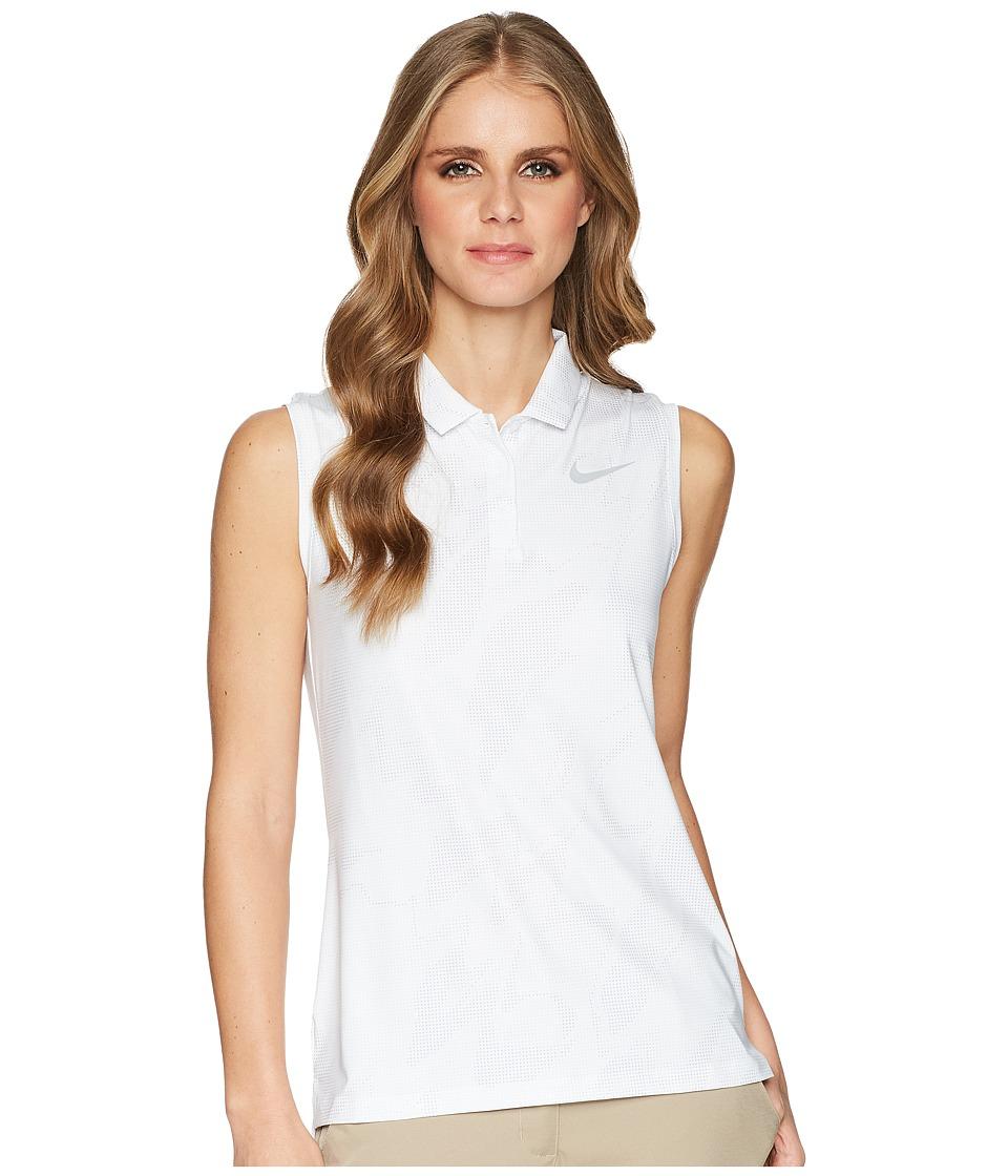 Nike Golf - Dry Polo Sleeve Sub Print (White/Flat Silver) Womens Clothing