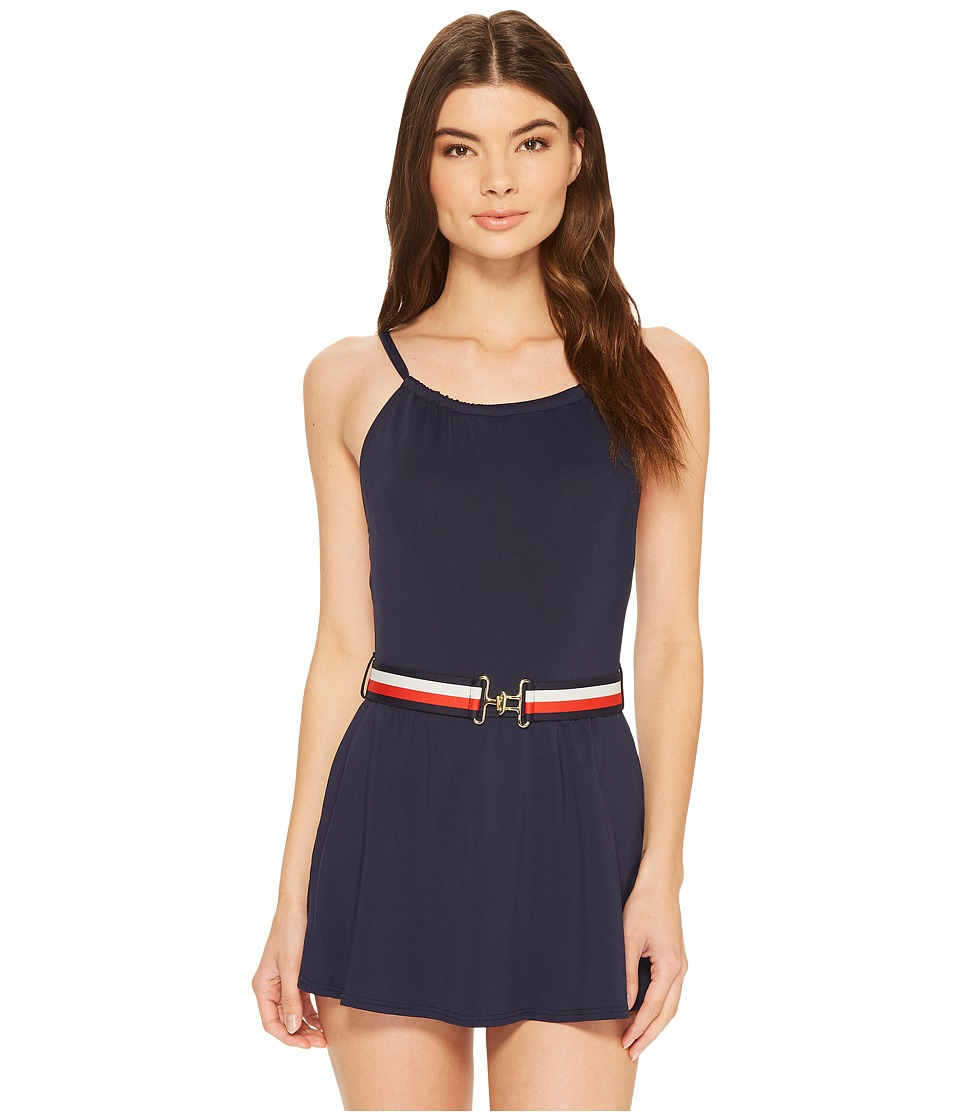 Vintage Bathing Suits | Retro Swimwear | Vintage Swimsuits Tommy Hilfiger - Sporty Hippie High Neck Swimdress Core Navy Womens Swimwear $108.00 AT vintagedancer.com