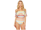 Vince Camuto Cabana Stripes Ruffle Off the Shoulder One-Piece Swimsuit w/ Removable Soft Cups Strap