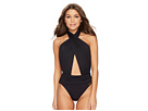 Vince Camuto Riviera Solids Wrap Halter Neck One-Piece Swimsuit