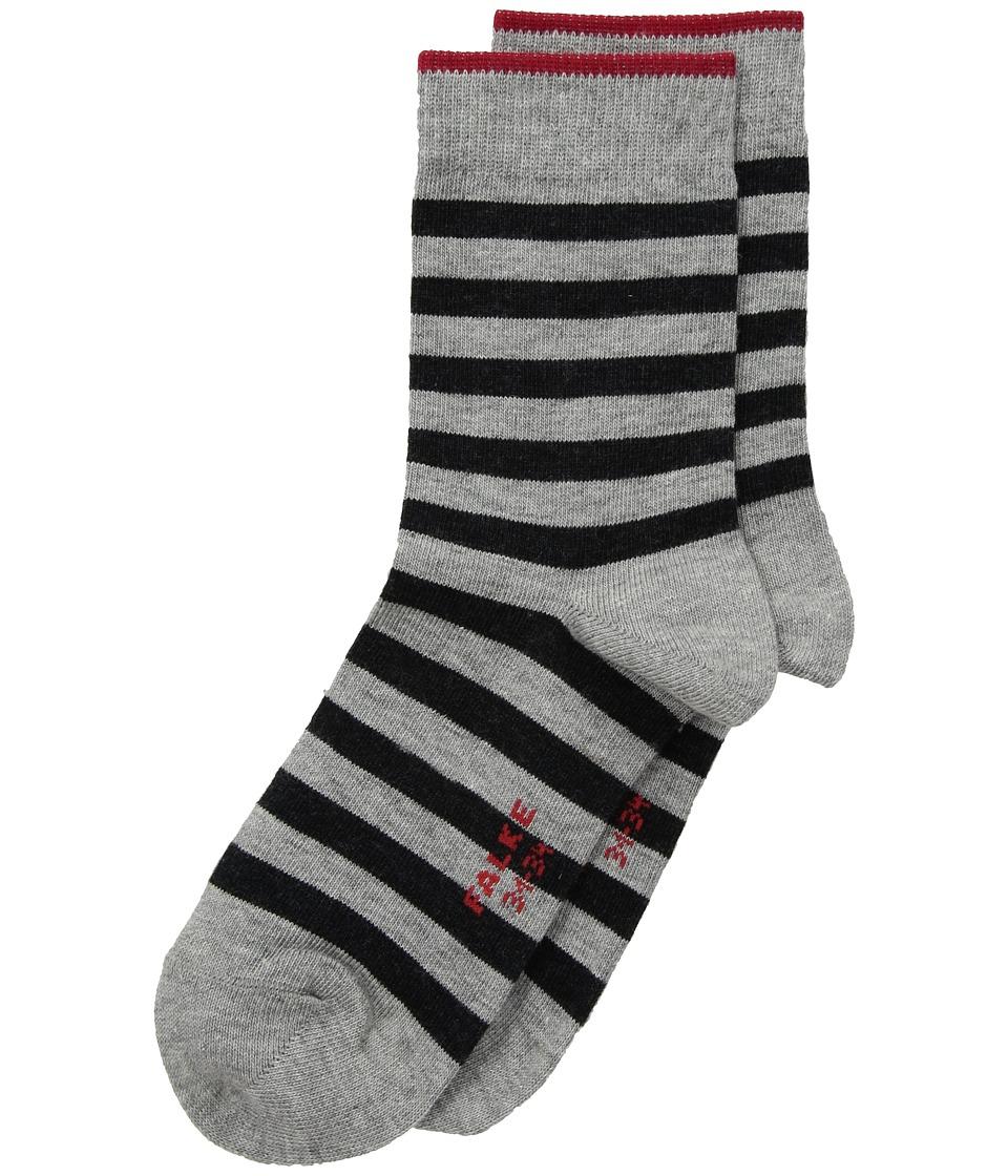 Falke Double Stripe Sock (Toddler/Little Kid/Big Kid) (Light Grey) Crew Cut Socks Shoes