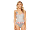 Vince Camuto Blossom Stripes Plunging Double Cross-Back One-Piece Swimsuit
