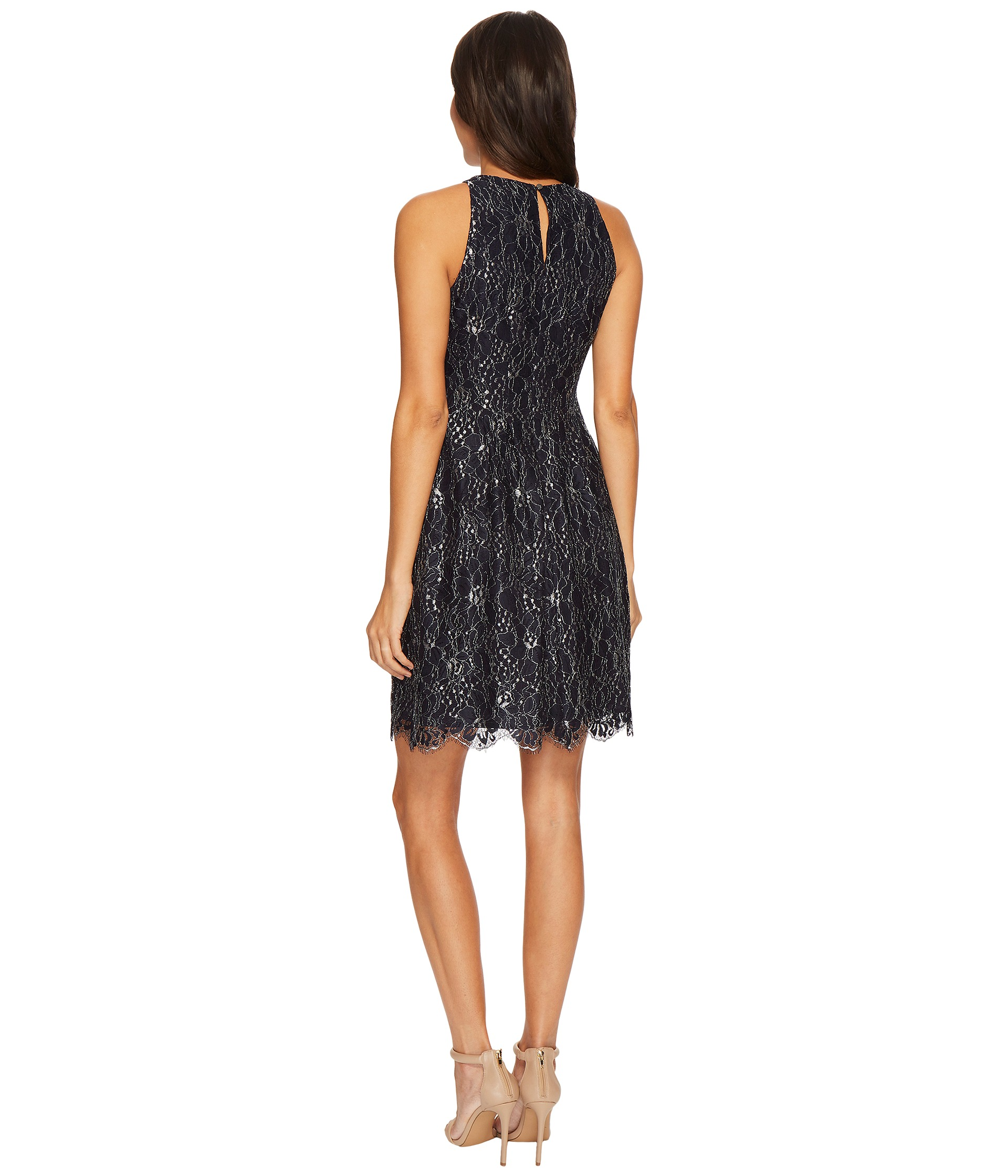 Vince Camuto Lace Fit And Flare Dress W/ Keyhole At Back