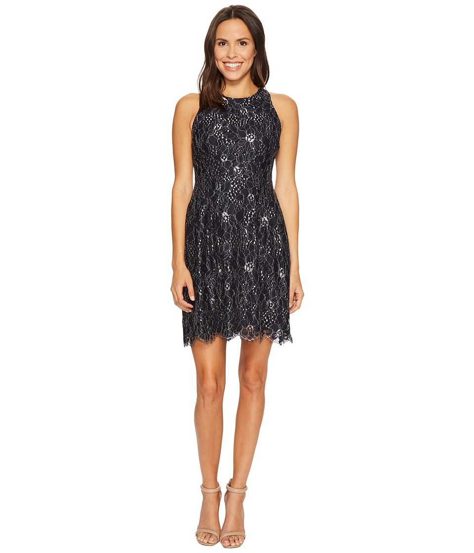 Vince Camuto Lace Fit and Flare Dress w/ Keyhole at Back (Navy) Women