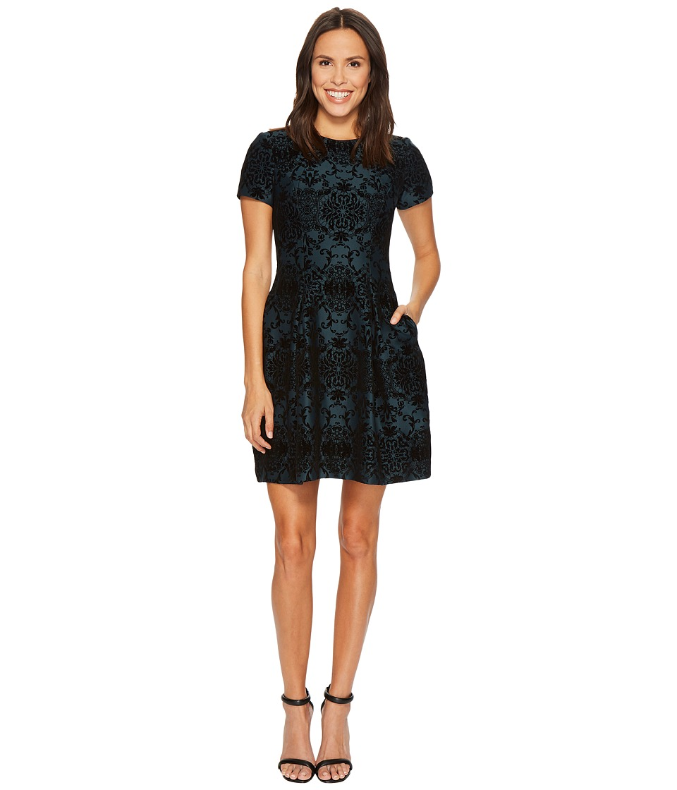 Vince Camuto Flocked Novelty Fit and Flare Dress (Black/Navy) Women