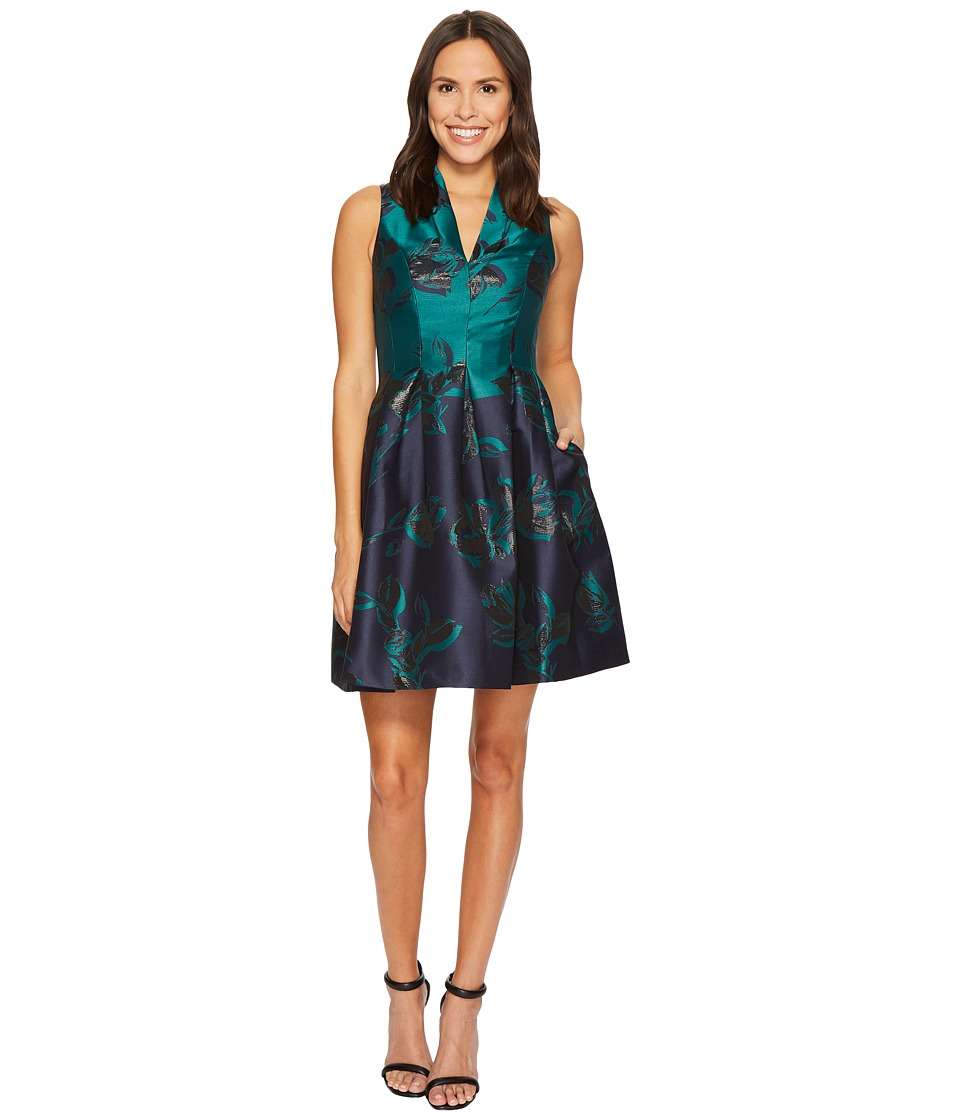 Vince Camuto Jacquard Funnel V-Neck Fit and Flare Dress (Navy Multi) Women
